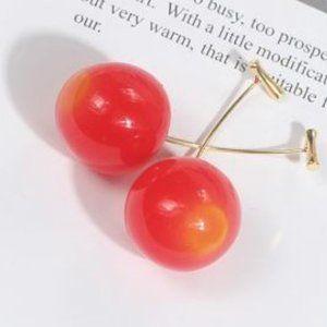 Cherry Earrings Drop Dangle Red Yellow NEW